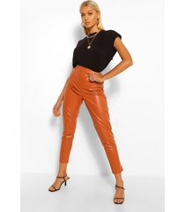 super stretch leather look high waist pants, rust
