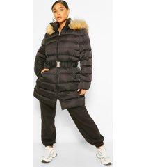 plus lange gewatteerde jas met faux fur capuchon en ceintuur, zwart
