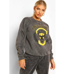 detroit slogan oversized washed sweatshirt