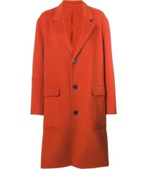 ami three buttons patch pocket unlined coat - orange