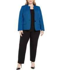 le suit plus size one-button contrast-color pantsuit