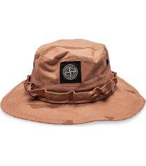 supreme x stone island camouflage printed hat - brown