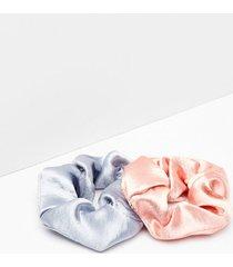 womens tie it up 2-pc satin scrunchies - blue