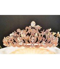 bridal rose gold plated tiara austrian crystals t-016-c
