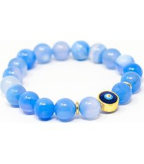katie's cottage barn agate gemstone single with evil eye bracelet