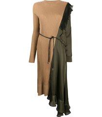 green and beige paneled asymmetric dress