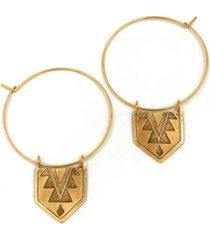kemi designs women's 14k gold plated hanging mayan pendant thin hoop earrings