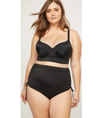 lane bryant women's strappy-back longline swim bikini top with balconette bra 44f black