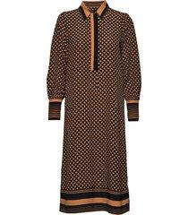 sirius ls midi dress knälång klänning brun second female