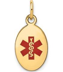medical info charm pendant in 14k gold