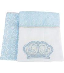 kit 2 mantas cueiros prãncipe azul reininho classic - azul - menino - dafiti