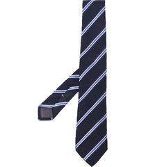 canali stripe pointed tie - blue