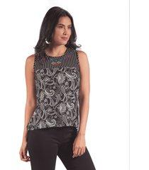 blusa adrissa con mezcla de telas y bordado en almilla negra