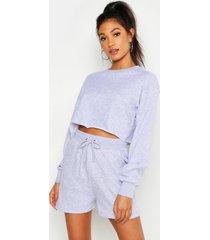 mix & match zachte ingekorte loopback sweater, grijs gemêleerd