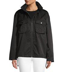 hooded logo script windbreaker jacket
