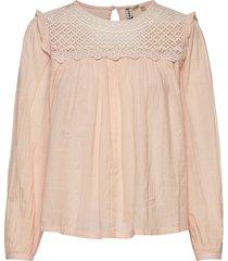 ellison lace long sleeve top blus långärmad rosa superdry