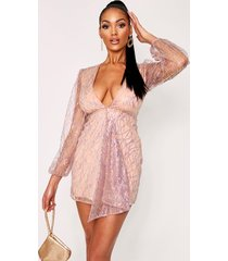 holographic sequin plunge bodycon dress, nude