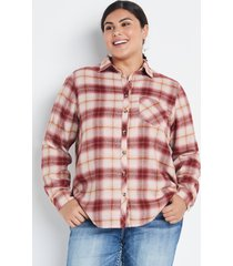 maurices plus size womens cabin plaid red button down shirt