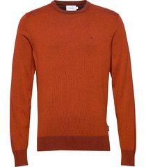 cotton silk c-neck sweater stickad tröja m. rund krage orange calvin klein