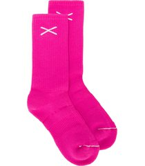 barrie cashmere logo knit socks - pink