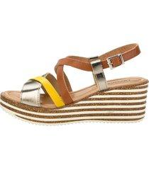 sandaletter klingel konjak::gul::guldfärgad