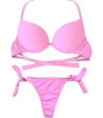 biquíni bojo bolha alça estreita divance rosa bebê calcinha de amarração lateral