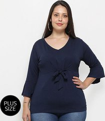 blusa blomma plus size amarração feminina