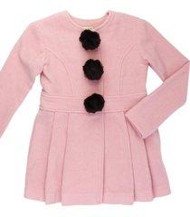 casaco lã pompom removível gingga baby e kids rosa claro lara
