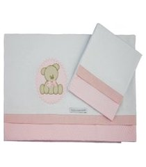 lençol de mini berço - minha casa baby - urso bolacha bolacha - rosa