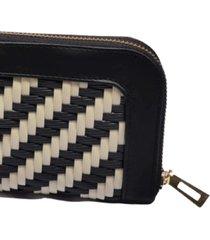 billetera negro por beige tejido a mano