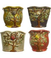 mini vaso arvore jg c/ 4 kasa ideia - multicolorido - dafiti