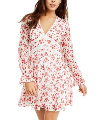 b darlin juniors' crochet-trim printed chiffon dress
