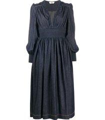 fendi pleated mid-length dress - blue
