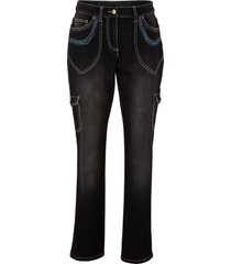 jeans cargo con ricami straight (nero) - bpc bonprix collection