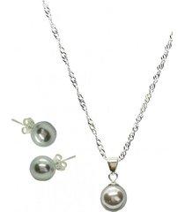 conjunto con perla swarovski grey joyas montero