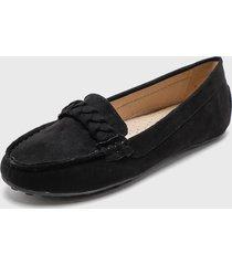 zapato plano negro via uno