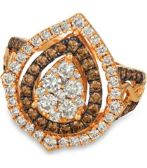le vian chocolate & nude diamond cluster halo ring (1-9/10 ct. t.w.) in 14k rose, yellow or white gold