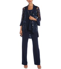 r & m richards 3-pc. sequinned jacket, necklace tank top & pants set