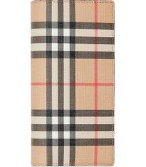 burberry vintage check e-canvas continental wallet - neutrals