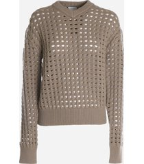 bottega veneta sweater with mesh detail