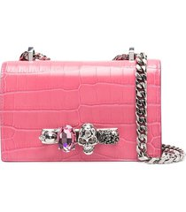 alexander mcqueen embossed knuckleduster shoulder bag - pink