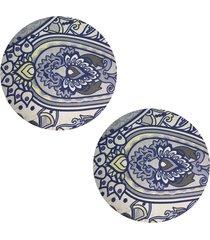 kit 2pçs d'rossi sousplat para prato suporte de mesa decorativo azul oriental 30 cm