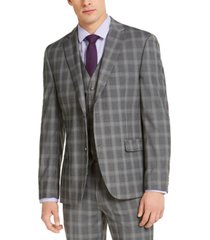 alfani men's slim-fit stretch gray plaid suit jacket, created for macy's