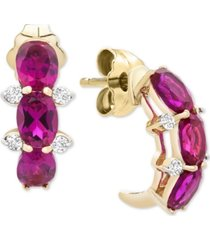 certified ruby (1-1/2 ct. t.w.) & diamond accent curved drop earrings in 14k gold
