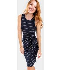alice striped midi dress - navy