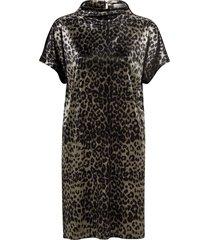 sammetsklänning animal velvet dress, leopardmönstrad