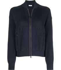 brunello cucinelli ribbed zip-up bomber jacket - blue