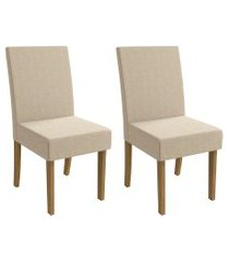 conjunto 2 cadeiras p/ mesa de jantar kappesberg cad139 freijó/bege
