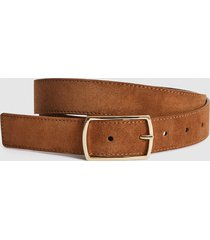 reiss sanders - suede belt in tobacco, mens, size 36