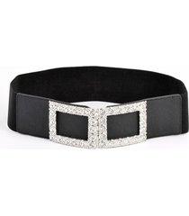 cinturon elastico hebilla strass rectangular negro mailea